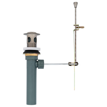 Image Of Bathroom Sink Pop Up Valve Assembly -  50 / 50 -  1.25 In. To 1.5 In. Diameter - Satin Nickel Finish - Harney Hardware