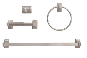 Image Of Sea Breeze Satin Nickel Bathroom Hardware Set - Satin Nickel Finish - Harney Hardware