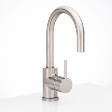 Image Of Single Hole Contemporary / Modern Bathroom Sink Faucet -  11 7/8 In. High -  Boca Grande - Satin Nickel Finish - Harney Hardware