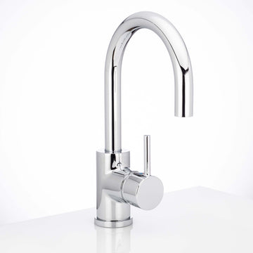 Image Of Single Hole Contemporary / Modern Bathroom Sink Faucet -  11 7/8 In. High -  Boca Grande - Chrome Finish - Harney Hardware