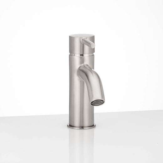 Image Of Single Hole Contemporary / Modern Bathroom Sink Faucet -  6 In. High -  Clearwater - Satin Nickel Finish - Harney Hardware
