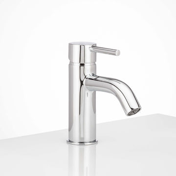 Image Of Single Hole Contemporary / Modern Bathroom Sink Faucet -  6 In. High -  Clearwater - Chrome Finish - Harney Hardware