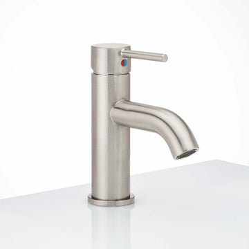 Image Of Single Hole Contemporary / Modern Bathroom Sink Faucet -  7 3/8 In. High -  Clearwater - Satin Nickel Finish - Harney Hardware