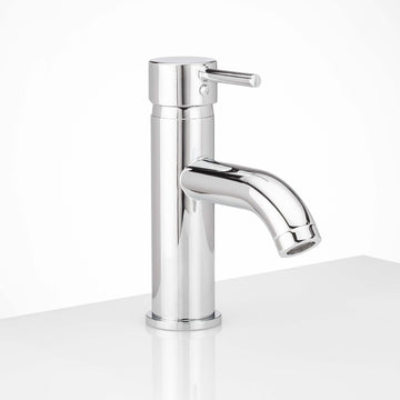 Image Of Single Hole Contemporary / Modern Bathroom Sink Faucet -  7 3/8 In. High -  Clearwater - Chrome Finish - Harney Hardware