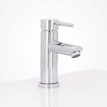 Image Of Single Hole Contemporary / Modern Bathroom Sink Faucet -  7 In. High - Polished Stainless Steel Finish - Harney Hardware