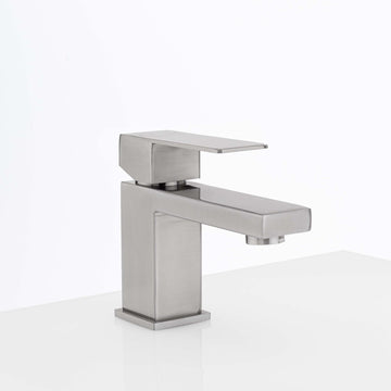 Image Of Single Hole Contemporary / Modern Bathroom Sink Faucet -  5 In. High -  Westshore - Satin Stainless Steel Finish - Harney Hardware
