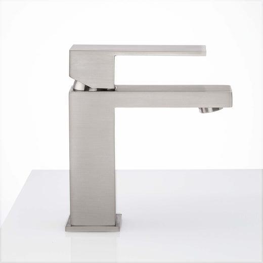 Image Of Single Hole Contemporary / Modern Bathroom Sink Faucet -  7 In. High -  Westshore - Satin Nickel Finish - Harney Hardware
