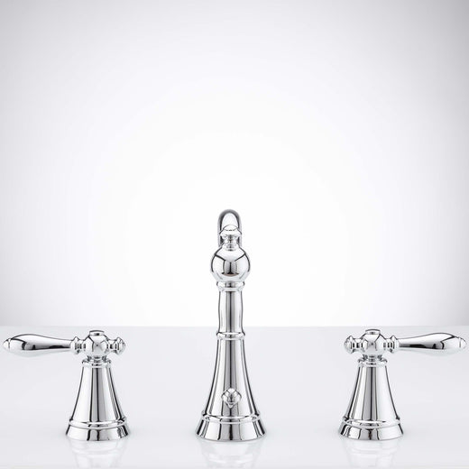 Image Of Wide Spread Transitional Bathroom Sink Faucet -  8 In. Wide -  Alexandria - Chrome Finish - Harney Hardware