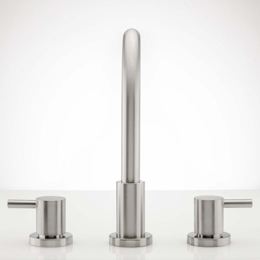 Image Of Wide Spread Contemporary / Modern Bathroom Sink Faucet -  8 In. Wide -  Boca Grande - Satin Nickel Finish - Harney Hardware