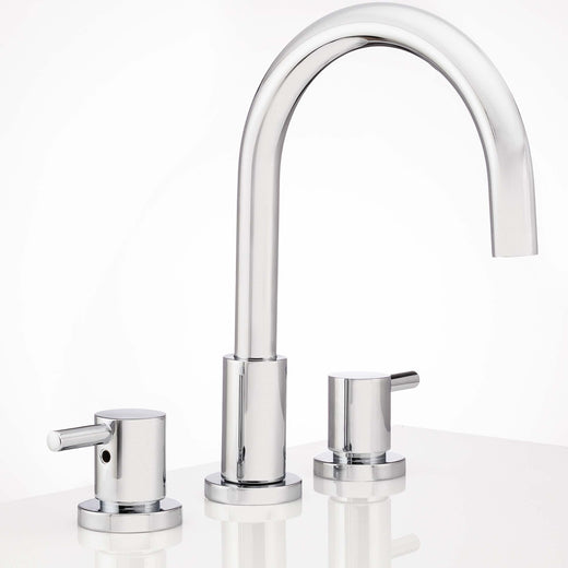 Image Of Wide Spread Contemporary / Modern Bathroom Sink Faucet -  8 In. Wide -  Boca Grande - Chrome Finish - Harney Hardware