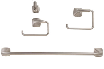 Image Of Wynwood Satin Nickel Bathroom Hardware Set - Satin Nickel Finish - Harney Hardware