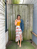 Tropical Floral Skirt with Ruffled Slit