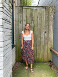Floral Buttoned Midi Skirt With Slits