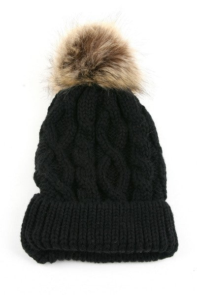 Faux Fur Pom Cable Beanie