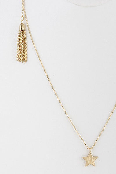 Star and Tassel Lariat Necklace