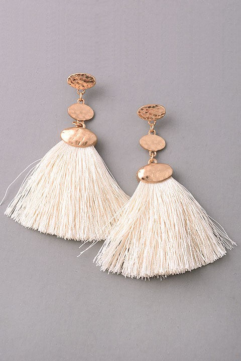 Hammered Metal Tassel Earrings