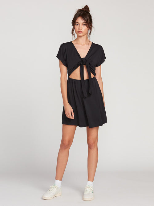 Coco x Volcom Tie Front Short Sleeve Dress