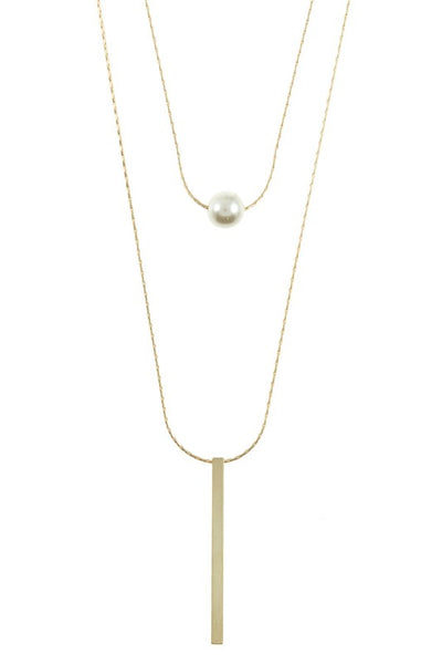 Pearl and Bar Double Pendant Necklace