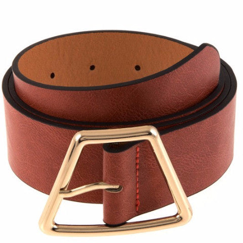 Faux Leather Belt with Trapezoid Buckle