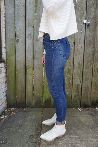 Lace-Up High Rise Denim
