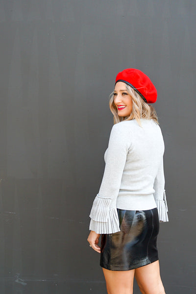 Mia Leather Trim Beret