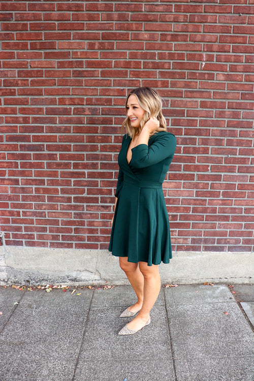 3/4 Sleeve Wrap Dress