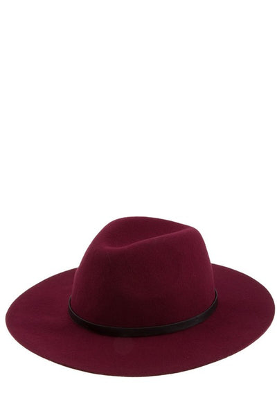 Faux Leather Band Wool Hat
