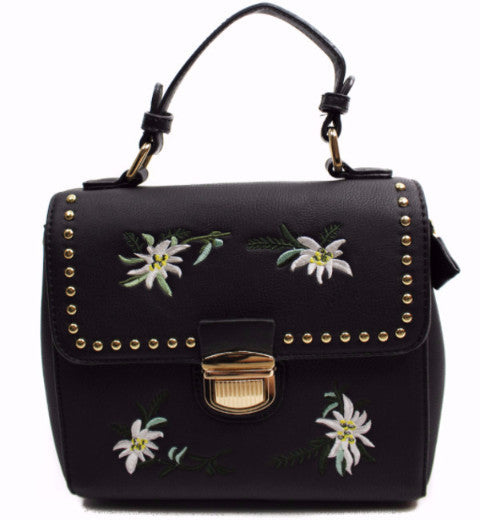 Embroidered Floral Studded Crossbody