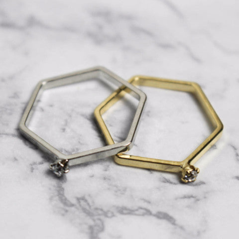 Hexagon Ring with Diamond