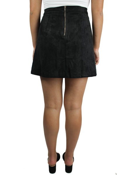 Faux Suede Lace Up Mini Skirt