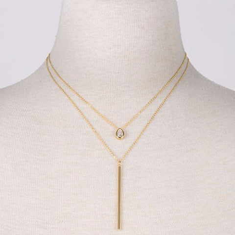Double Layered Teardrop Pendant Necklace