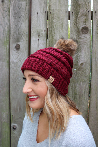 Cable Knit Beanie with Pom