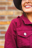 Burgundy Distressed Denim Jacket