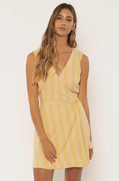 Maya Striped Wrap Dress