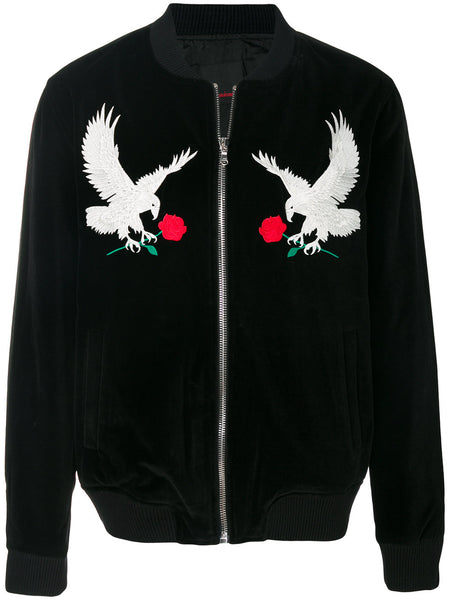 Velvet Front Eagle Embroidered Bomber Jacket
