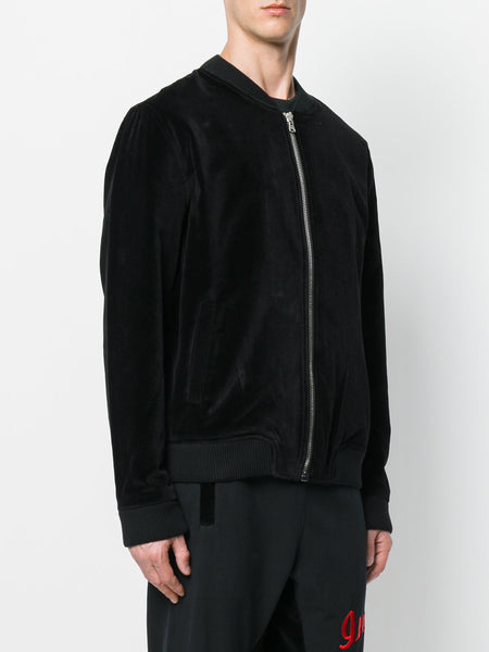 Velvet Back Skull Embroidered Bomber Jacket