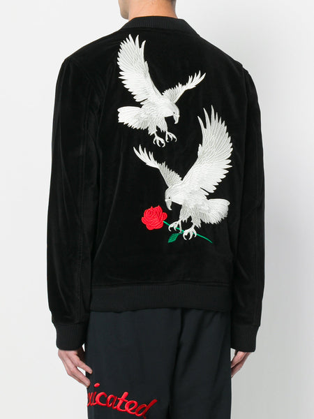 Velvet Back Eagle Embroidered Bomber Jacket