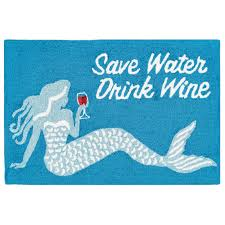 Save Water Drink Wine Indoor/Outdoor Rug - Frontporch Series