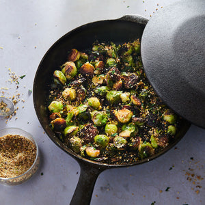 Seared-and-Steamed Brussels Sprouts with Honey Glaze and Dukkah