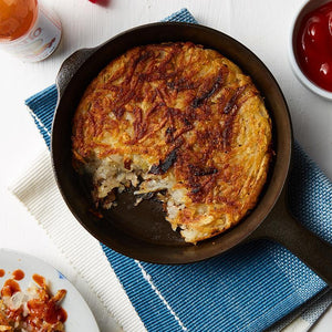 Potato Hash Browns in a Cast Iron Skillet