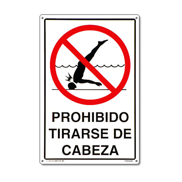 No Diving Spanish Sign - Pool Baron
