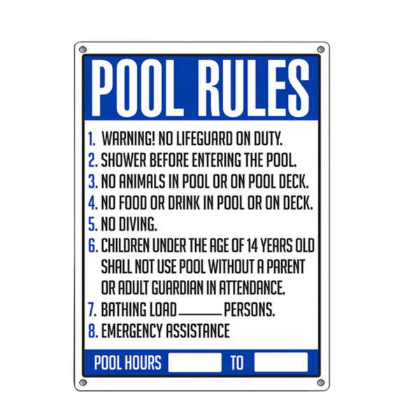 Commercial Pool Rules Sign - Pool Baron