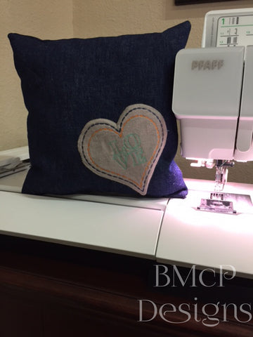 LOVE in your heart | Learn to use machine embroidery to make a pocket pillow with this tutorial and free design.