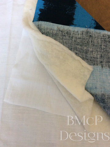 create a sandwich with the lining fabric, batting, and backing fabric