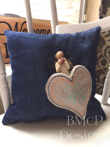 Heart pocket pillow with a gift