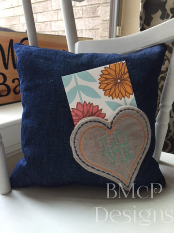 heart pocket pillow with a card