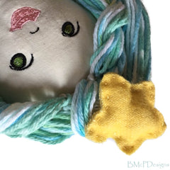 Mermaid doll natural fibers handmade