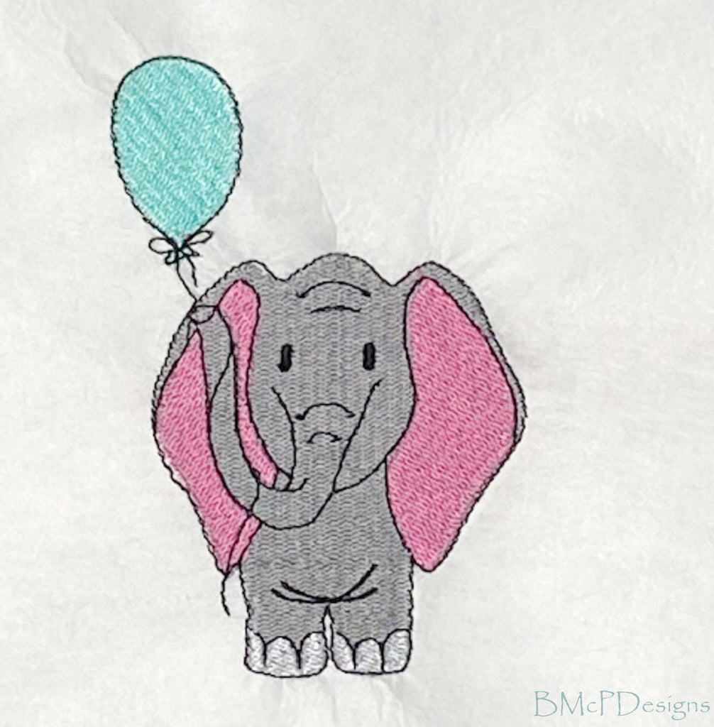 Elephant Holding a Balloon Embroidery Machine Design