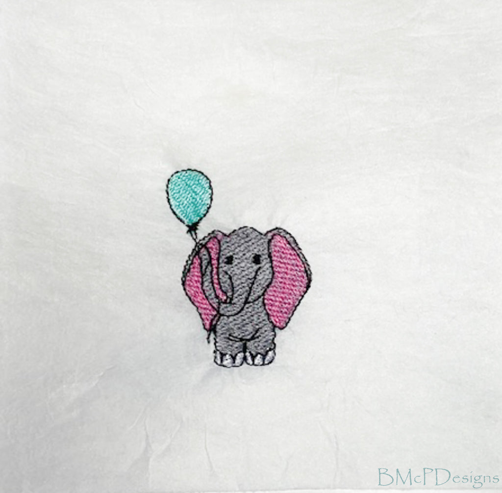 Elephant Holding a Balloon Sock Hoop Embroidery Machine Design