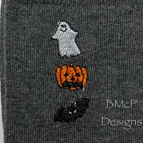 Ghost, Jack-o-Lantern and Bat Sock